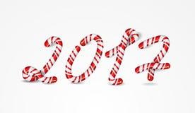 Número do ano novo 2017 como doces listrados do feriado ilustração royalty free