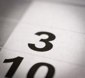 Número do calendário três Fotos de Stock