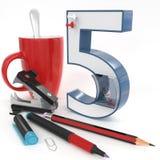 número do ` 3d do ` cinco com material do escritório Imagem de Stock