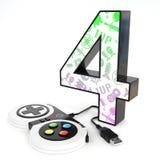 número do ` 3d do ` quatro com controlador do jogo de vídeo Imagens de Stock Royalty Free