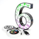 número do ` 3d do ` seis com controlador do jogo de vídeo Fotografia de Stock