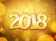 número do ouro de 2018 confetes do cartão do ano novo Decoração 2018 do Natal do feriado Projeto de cartão da bandeira do ano nov Fotografia de Stock