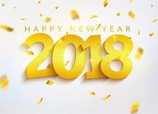 número do ouro de 2018 confetes do cartão do ano novo Decoração 2018 do Natal do feriado Projeto de cartão da bandeira do ano nov ilustração do vetor