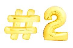 Número dois dourado com símbolo do hashtag Fotos de Stock