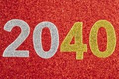Número dois mil e quarenta sobre um fundo vermelho anniversary Foto de Stock
