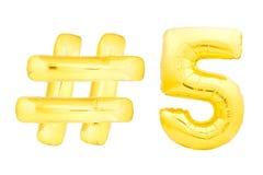 Número dourado cinco com símbolo do hashtag Fotografia de Stock Royalty Free