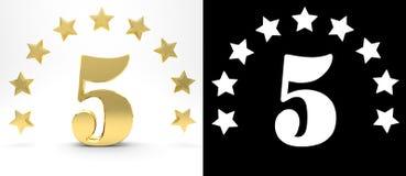 Número dourado cinco no fundo branco com a sombra da gota e o canal alfa, decorados com um círculo das estrelas ilustração 3D Imagem de Stock