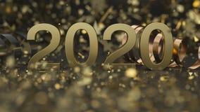 Número 2020 dourado com confetes e serpentina imagens de stock royalty free