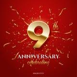 9 número dourado e aniversário que comemoram o texto com serpentina dourada e os confetes no fundo vermelho Vetor nono ilustração royalty free