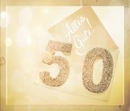 Número dourado 50 na tampa com texto alemão todo o melhor Imagens de Stock Royalty Free