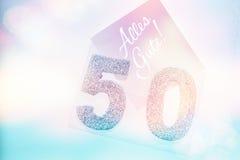 Número dourado 50 na tampa com texto alemão todo o melhor Foto de Stock