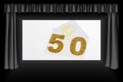 Número dourado 50 na tampa com texto alemão todo o melhor Imagens de Stock