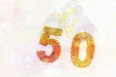 Número dourado 50 na tampa com texto alemão todo o melhor Foto de Stock Royalty Free