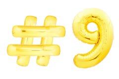 Número dourado nove com símbolo do hashtag Foto de Stock Royalty Free