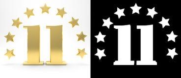 Número dourado onze no fundo branco com a sombra da gota e o canal alfa, decorados com um círculo das estrelas ilustração 3D Imagens de Stock Royalty Free
