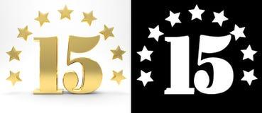 Número dourado quinze no fundo branco com a sombra da gota e o canal alfa, decorados com um círculo das estrelas ilustração 3D Imagem de Stock Royalty Free