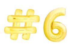 Número dourado seis com símbolo do hashtag Imagem de Stock