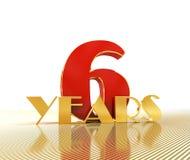 Número dourado seis número 6 e a palavra Fotografia de Stock Royalty Free