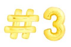 Número dourado três com símbolo do hashtag Imagens de Stock Royalty Free