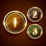 Número dourado um dois etiqueta do projeto do vetor de três prêmios Foto de Stock