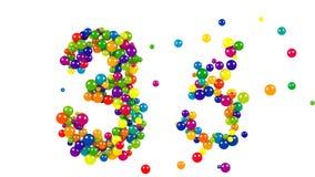 Número 33 em um projeto decorativo de bolas redondas