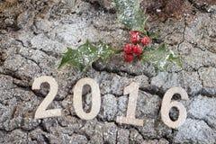 Número 2016 en la corteza de madera con acebo Foto de archivo libre de regalías