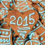 número 2015 en la galleta Foto de archivo libre de regalías