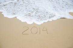 Número 2014 en la playa Fotografía de archivo libre de regalías
