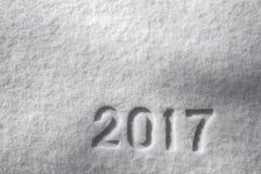 Número 2017 en nieve Imágenes de archivo libres de regalías