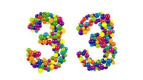 Número 33 en un diseño decorativo de bolas redondas Imagenes de archivo