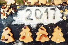 Número 2017 escrito en la harina con las galletas Foto de archivo libre de regalías