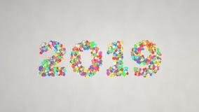 número 2019 feito dos confetes coloridos imagens de stock royalty free
