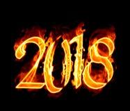 Número 2018 flamejante no preto Fotografia de Stock Royalty Free
