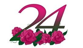 Número 24 floral fotografía de archivo