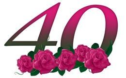 Número 40 floral imagenes de archivo