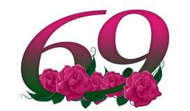 Número 69 floral Fotografía de archivo libre de regalías