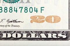 Número 20 Fragmento de 20 U S banknote Imagen de archivo