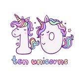 Número lindo diez Unicorn Character Vector Illustration ilustración del vector