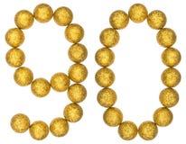Número 90, noventa, de las bolas decorativas, aisladas en el CCB blanco Foto de archivo libre de regalías