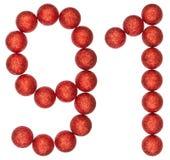 Número 91, noventa uno, de las bolas decorativas, aisladas en blanco Imagenes de archivo