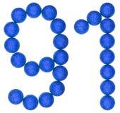 Número 91, noventa uno, de las bolas decorativas, aisladas en blanco Foto de archivo libre de regalías