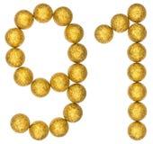 Número 91, noventa uno, de las bolas decorativas, aisladas en blanco Fotografía de archivo