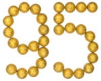 Número 95, noventa y cinco, de las bolas decorativas, aisladas en pizca Imagenes de archivo