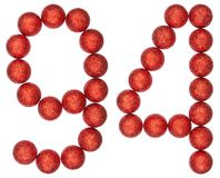 Número 94, noventa y cuatro, de las bolas decorativas, aisladas en pizca Imagen de archivo libre de regalías
