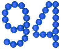 Número 94, noventa y cuatro, de las bolas decorativas, aisladas en pizca Foto de archivo libre de regalías