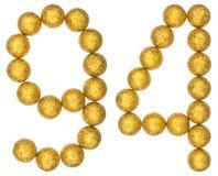 Número 94, noventa y cuatro, de las bolas decorativas, aisladas en pizca Imagen de archivo