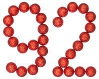 Número 92, noventa y dos, de las bolas decorativas, aisladas en blanco Fotos de archivo libres de regalías
