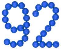 Número 92, noventa y dos, de las bolas decorativas, aisladas en blanco Imagenes de archivo