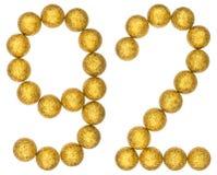 Número 92, noventa y dos, de las bolas decorativas, aisladas en blanco Foto de archivo