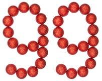Número 99, noventa y nueve, de las bolas decorativas, aisladas en pizca Foto de archivo